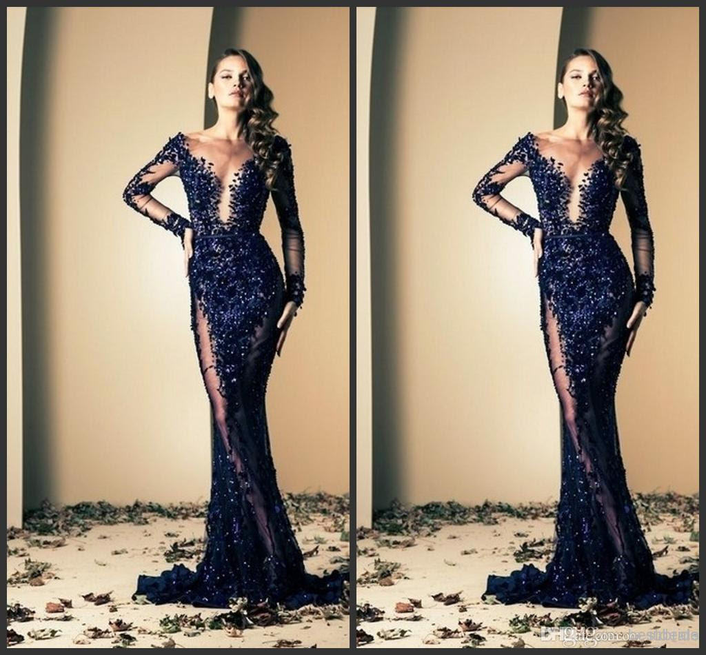 Navy Blue Long Sleeve Prom Dress