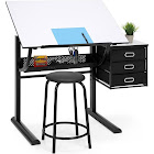 Best Choice Products Drawing Drafting Craft Art Table Folding Adjustable Desk with Stool, Black/White