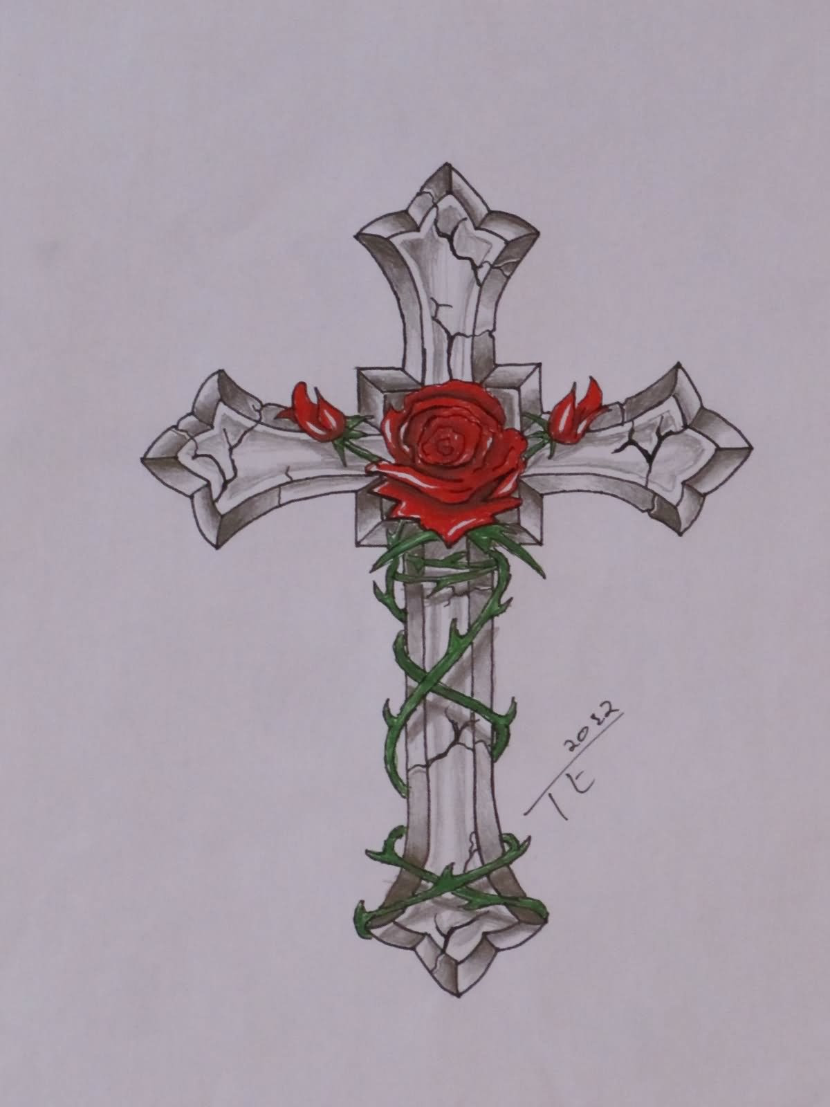 3d Cross With Rose Tattoo Design Sample