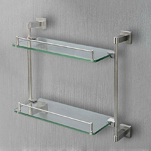 Apl 8214 304stainless Steel Base Double Layer Glass Storage Shelf
