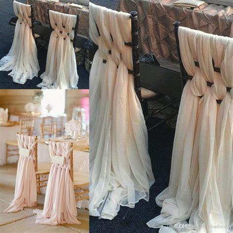2019 Custom Made Pink Chiffon DIY Wedding Chair Covers And