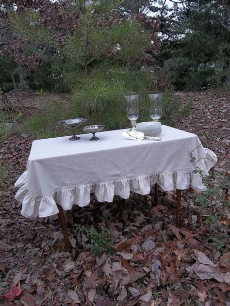 Ruffled Linen Tablecloth White Ruffled Tablecloth Custom
