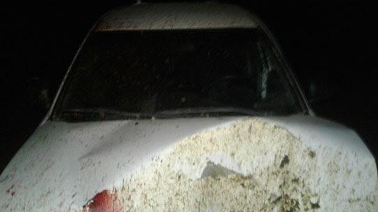 Frente do carro ficou destruída após bater em jegue; animal morreu na hora | Foto: Notícias de Santaluz