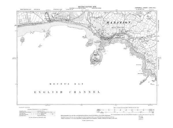 Old Map Of Marazion St Michaels Mount Cornwall In 1909