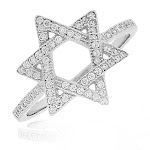 925 Sterling Silver White Clear CZ Star of David Ring Band
