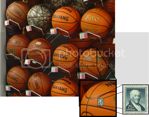 1958 USPS postage stamp honoring Paul Revere superimposed on Mangan2002's photo of a basketball display