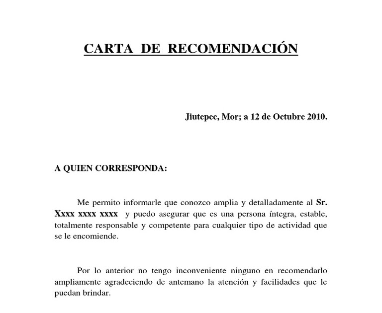 carta de recomendacion personal doc