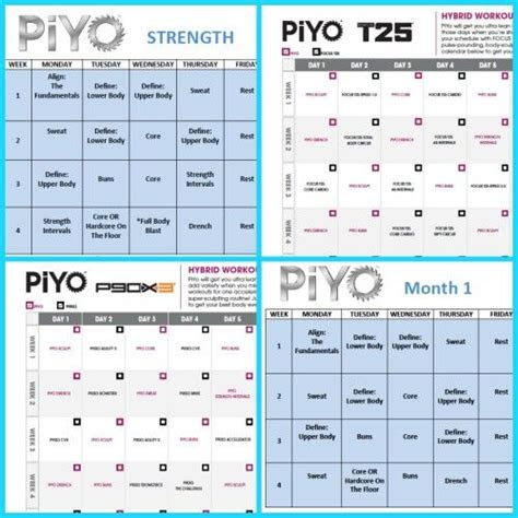 piyo workout schedules piyo piyo strength piyo