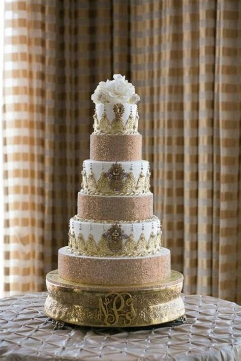 Our gold rhinestone wedding cake! #gold #weddingcake #