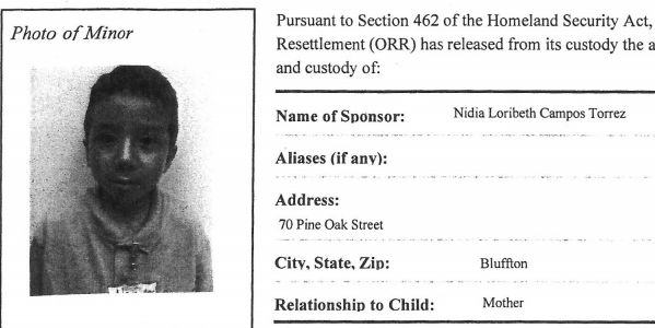 A government release form showing then 10-year-old Walter Alexander.