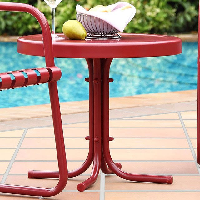 Metal Red Outdoor Patio Side Table Retro Rc Willey Furniture Store