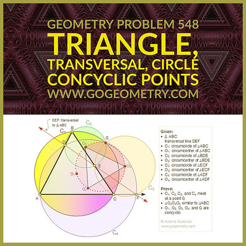 Geometric Art Geometry Problem 548:Triangle, Circle, Concyclic Points, iPad Apps, Typography.
