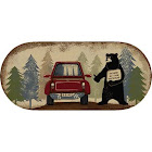 "Dean Washable Non-Slip Hitchhiking Bear Cabin Mountain Kitchen Bath Door Entrance Mat/Rug 20""x44"" Oval"