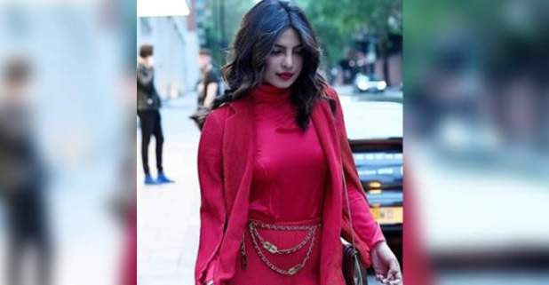 Priyanka Chopra Turns Heads In Red Velvet Suit And Just The Cost Of Belt Will Leave You Surprised
