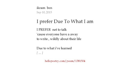 I prefer Due To What I am by ikram  ben