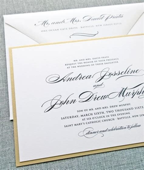 Andrea Script Metallic Gold Layered Wedding Invitation