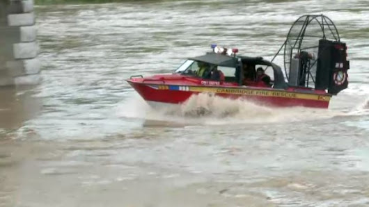 Air boat used in river rescue after canoe capsizes on the Grand River