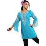 Veesha Blue 3/4 Sleeves Kurti/Tunic with Designer Embroidery KURTISCBH91:A304