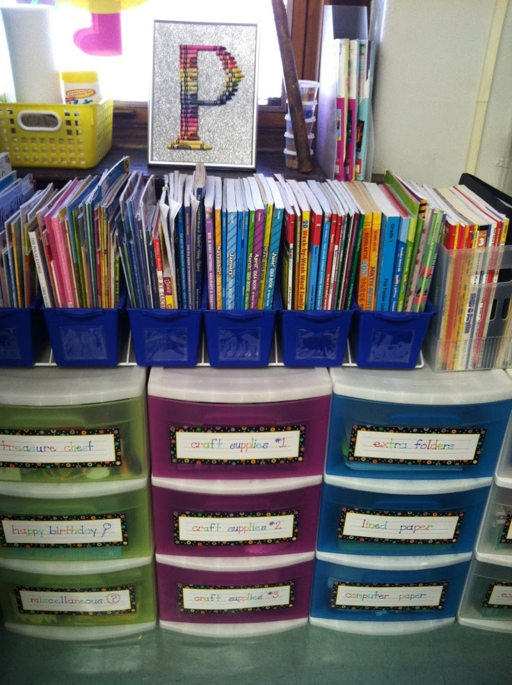 Good ideas for organization...  I also like the colored drawers!