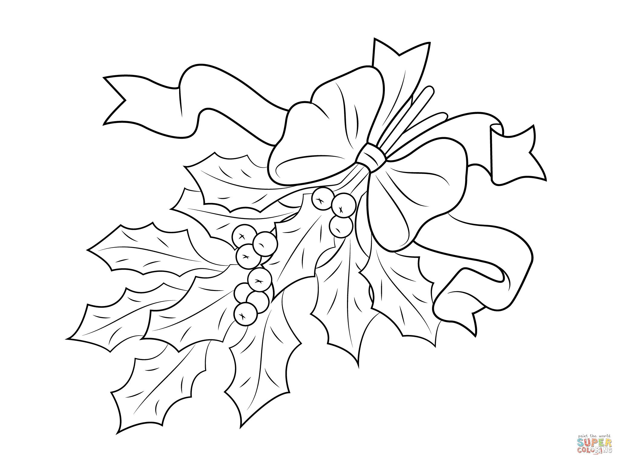 Dibujo De Acebo De Navidad Con Lazo Para Colorear Dibujos Para