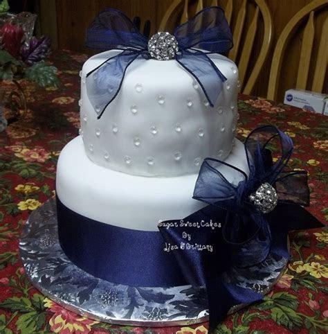 Navy Blue & White Wedding Cake   CakeCentral.com