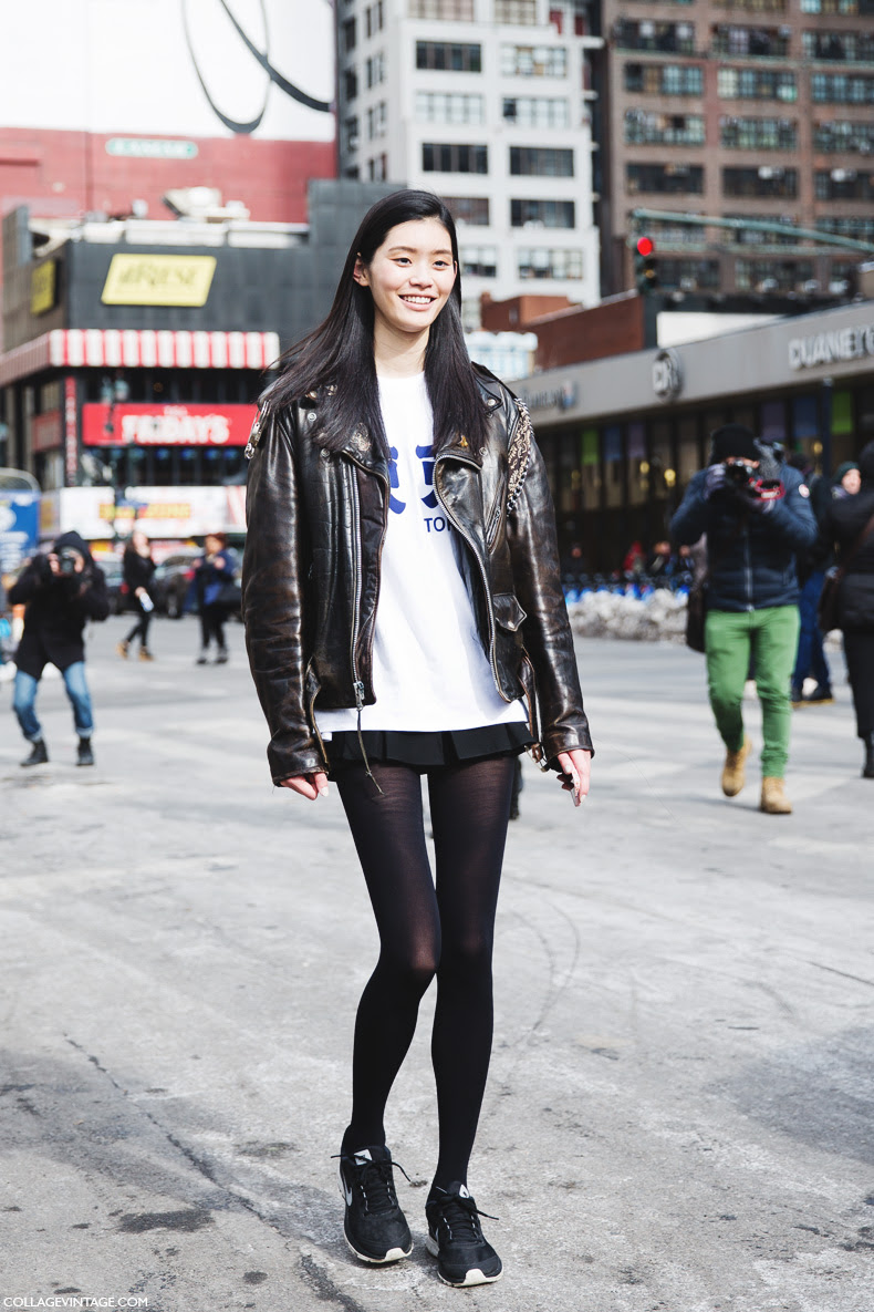 New_York_Fashion_Week-Street_Style-Fall_Winter-2015-Biker_Leather-Sneakers-Model-
