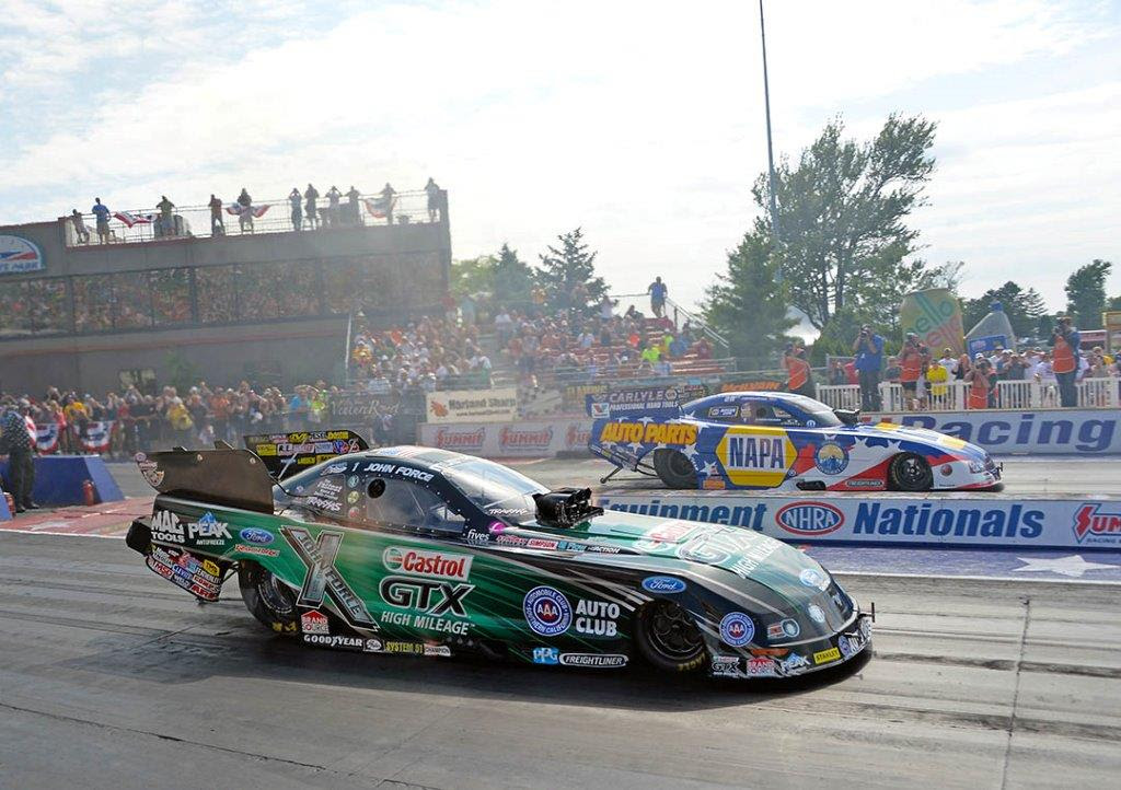 John Force and Ron Capps go head to head. Photo: Courtesy of Gary Natase/JFR Racing