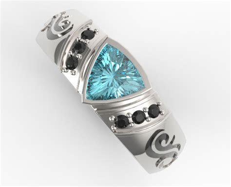 Trillion Cut Aquamarine Mens Wedding Band   Vidar Jewelry