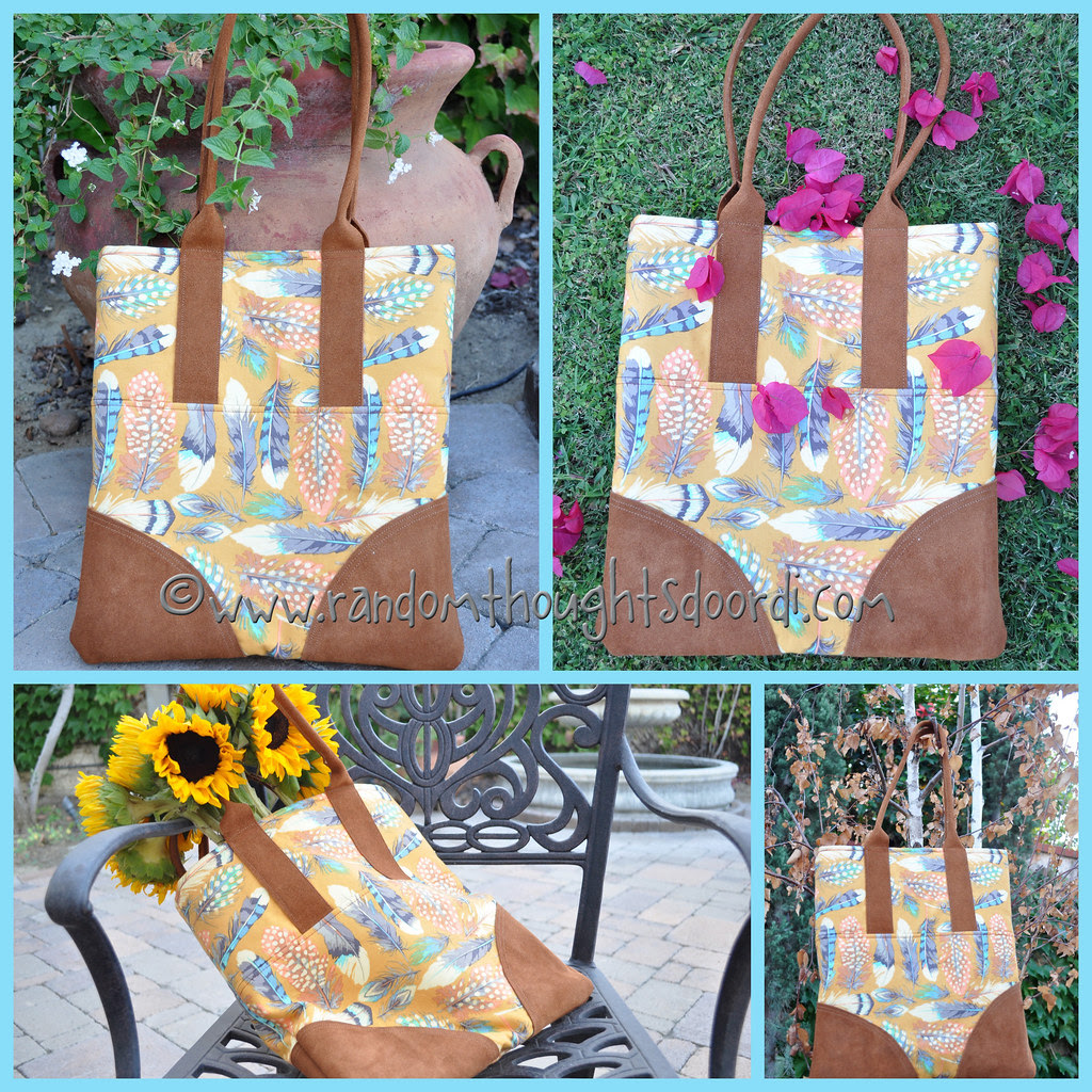 leather tote collage