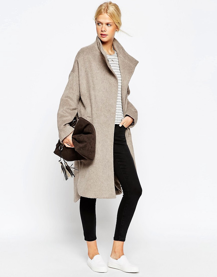 Image 1 of ASOS Coat in Oversized Fit with Popper Detail
