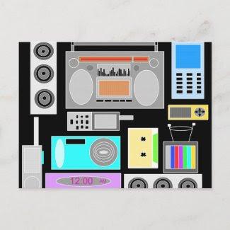Retro electronics jumble on black postcard