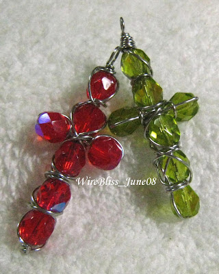 wire wrapped beaded cross pendant