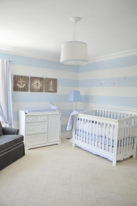 Lovely Powder Blue And White Nautical Baby Boy's Nursery ...