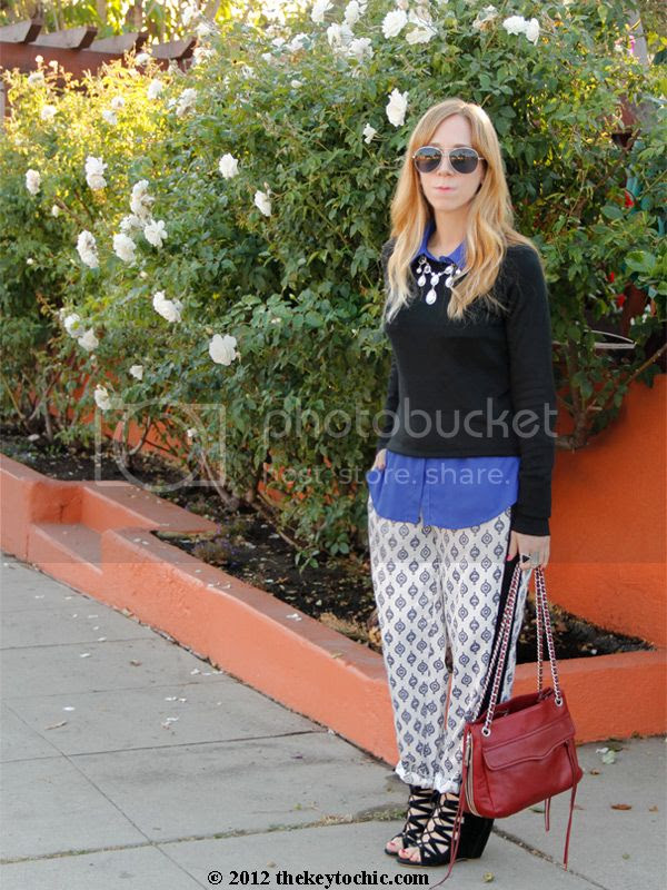 Mossimo sweater, Narciso Rodriguez for DesigNation Kohl's white pajama pants, Aldo Maune wedges, Los Angeles fashion blog