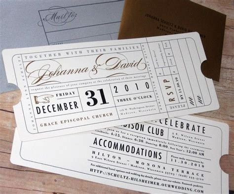 Ticket Wedding Invitation   Hollywood Theater Movie