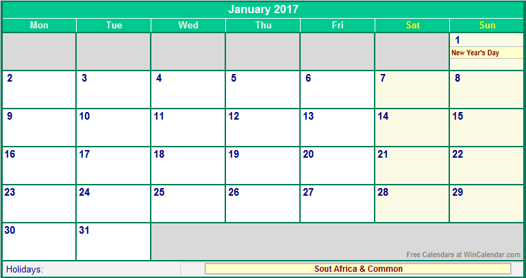 calendar 2017 holidays south africa - Calendar