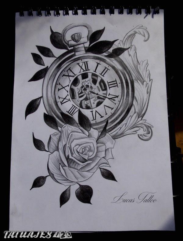 Diseño De Reloj Y Rosa Tatuajes 123