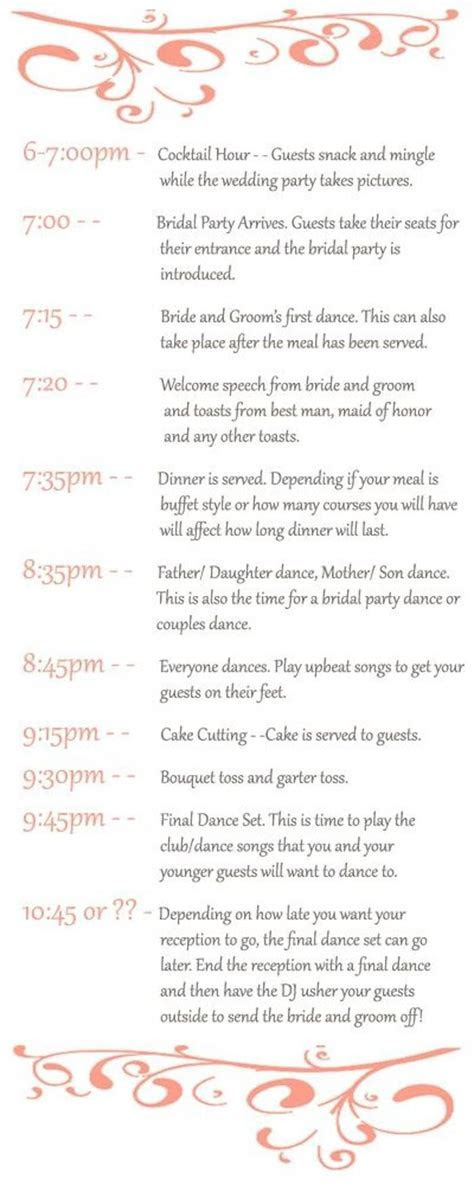 Best 20  Wedding reception timeline ideas on Pinterest