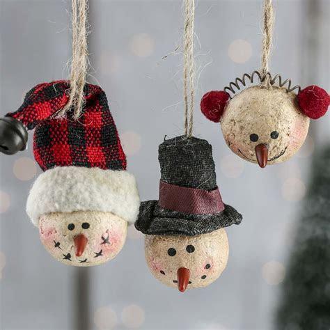 Primitive Paper Clay Snowman Ornaments   Christmas
