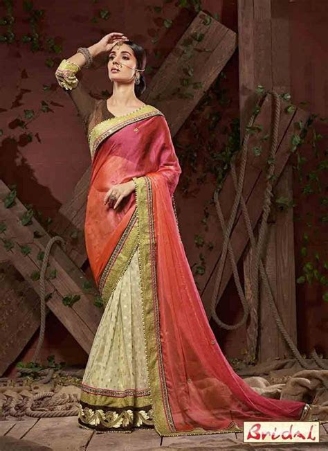 Orange and white designer saree for wedding ? FashionEven