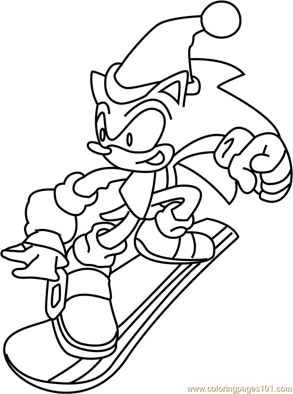 Sonic the Hedgehog on Christmas Coloring Page - Free ...