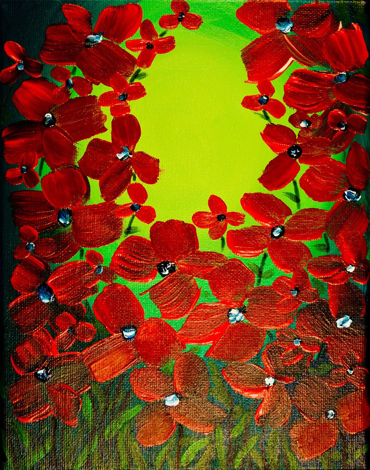 ORIGINAL modern art Poppy Bloom flower floral contemporary impasto acrylic painting by QiQiGallery 10x8