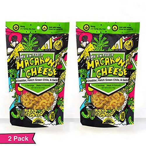 Hemp Extract, Macaroni and Cheese with Hatch Green Chile, Cheddar, and Garlic by FishSki Provisions (2 x 6oz Packs, 170 G Each, 12 oz Total), Size: