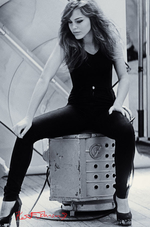 Black Jeans and Top seated, B&W Style shot for Modelling Portfolio Shoot