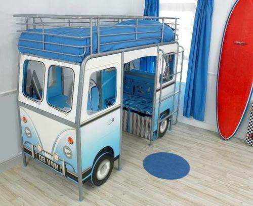 Boys Bedroom / Volkswagen Bus Loft Bed (built-in desk and seating ...