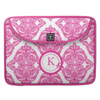 Ornate Damask Pink and White Sleeve For Macbooks