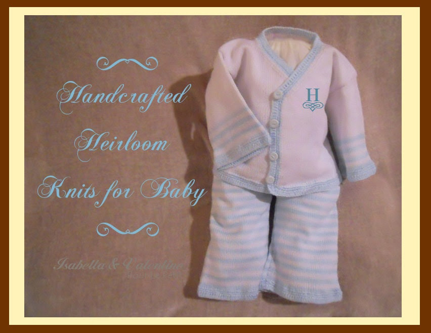 NEWBORN 0m Baby Boy Handcrafted Special Occasion White Blue Knit 2pc KAI Set with Hand Crochet... Isabella and Valentino