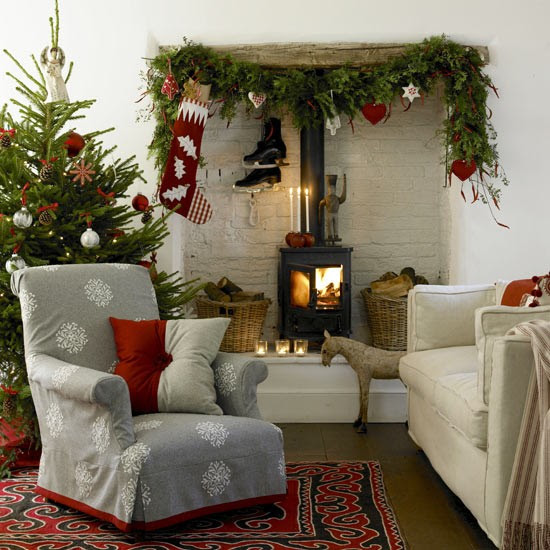 Nordic-style festive living room