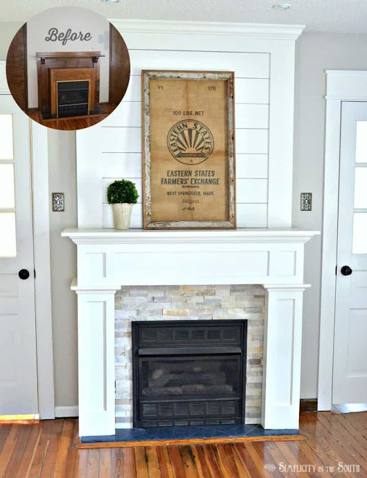 DIY Budget Fireplace Surround: From the Boring Brown Before to a Light, Bright & White After - Simplicity in the South