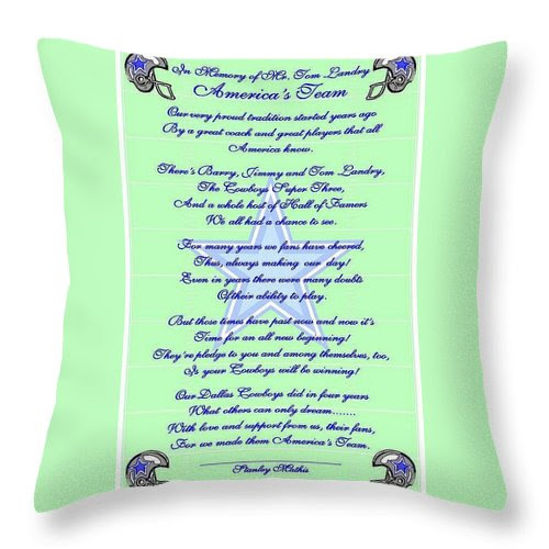 America's Team Poetry Art Poster Throw Pillow